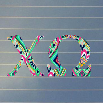 Lilly Pulitzer Inspired Chi Omega Car Decal | Chi Omega Car Sticker | Chi Omega Sorority | Chi Omega Laptop Decal | Greek Car Decal |  168