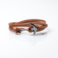 Men's Gunmetal Anchor Leather Bracelet (Brown)