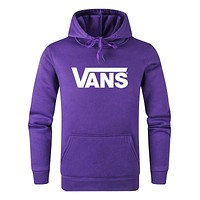 Vans Autumn And Winter New Fashion Letter Print Women Men Sports Leisure Hooded Long Sleeve Top Sweater Purple