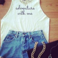 """White """"Adventure with Me"""" Cropped Tee"""