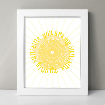 You are My Sunshine Nursery Art Print - You Are My Sunshine Prints - Baby Girl Nursery Wall Art - Sunshine Lullaby Art - Yellow Nursery Art