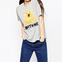 2016 New Women Kawaii Bear Print T Shirt Women Summer Style Cartoon With Letter Casual Tops Loose Cotton Tees Camisetas Mujer