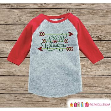 Kids Christmas Outfit - Crazy For Christmas Shirt or Onepiece - Kids Holiday Outfit - Boy Girl - Kids, Baby, Toddler, Youth
