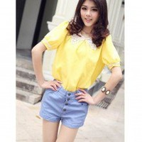 Playful Shaped Color Four Buttons High Waist Shorts Pants 5 Colors