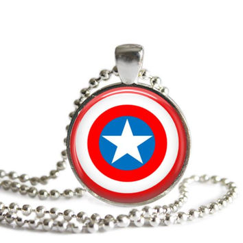 Captain America Silver Plated Picture Pendant Necklace
