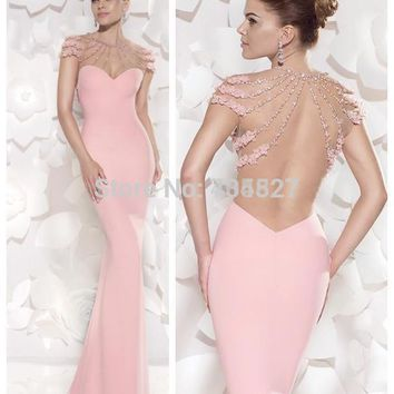 Nitree 2016 Pink Mermaid Prom Dresses Sheer Backless Court Train Evening Dresses Beading O-neck Cap Short Sleeves Formal Party G