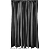 11 ft High Flocking Velvet Curtains | 132 Inch Black Drape Panels