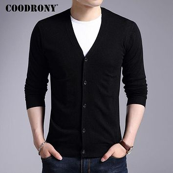 Men New Winter Warm Cashmere Wool Sweater Cardigans Classic Solid Color V-Neck Men Sweaters