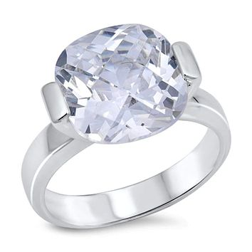 3 Carat Cushion Cut Cubic Zirconia Solitaire Engagement Ring Sterling Silver Size 9