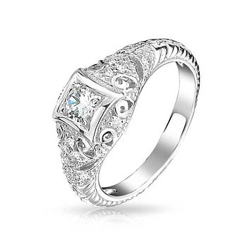 1CT Square Solitaire AAA CZ Engagement Ring 925 Sterling Silver