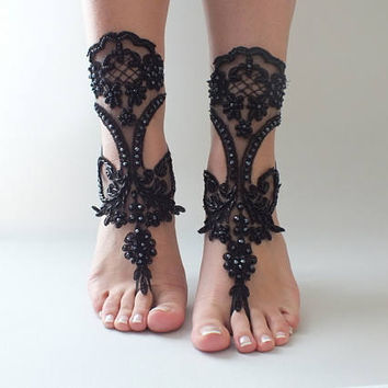 EXPRESS SHIPPING Black beach shoes,bridal sandals, lariat sandals, wedding bridal, bellydance, gothic, wedding shoes, summer wear, handmade