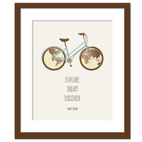 Explore Dream Discover Mark Twain Quote - Travel Adventure Inspirational Art - Quotation Poster Motivational Quote - Bicycle Bike World Map
