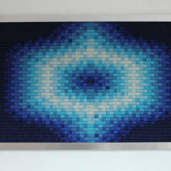 Vibrant WOVEN OP ART  from France mid century vintage retro 1970 era