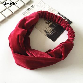 Elastic Cross Velvet Classic Color Hair Belt Girl Headband Accessories Black Hair Bands Hair Tie For Women Leisure Girls Bows