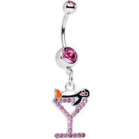 Pink Paved Martini Glass with Pengiun Dangle Belly Ring | Body Candy Body Jewelry