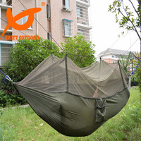 Free Shipping SWIFT 240x140cm Portable Army Green High Strength Parachute Nylon Camping Mosquito Hammock with Mosquito Nets