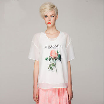 White Sheer Mesh Rose Print Loose Short Sleeves T-Shirt