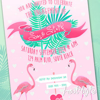 Flamingo Love Engagement Invitation - customised for your event - digital file to print yourself - pink flamingos kitsch tropical heart palm