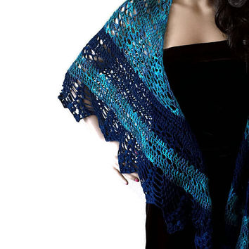 Outlander Lace Shawl - Loch Lomand - Turquoise Blue Crocheted Fraser Gabaldon Knits FREE SHIPPING FT09