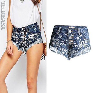 Embroidery Denim Heavy Work Tassels Pants Shorts [11474122895]