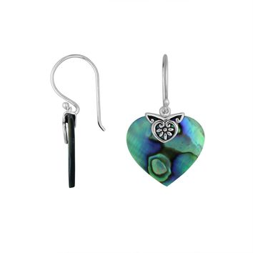 AE-6235-AB Sterling Silver Heart Shape Earring With Abalone Shell