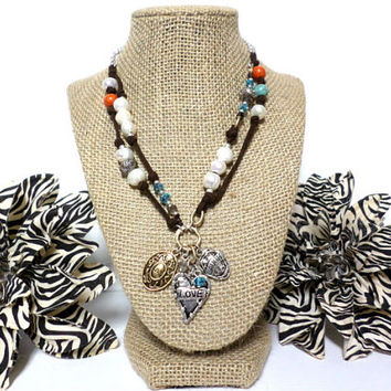 Boho Double layer Silver & Gold Live Love Laugh Heart  Fresh Water Pearl beaded glass crystal multi-color brown suede leather necklace, gift