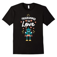 Programmed To Love Code Shirt Gift For Computer Programmer