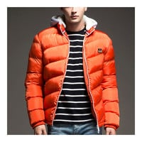 Man Cotton Coat Solid Color Warm Hoodied  orange red   M
