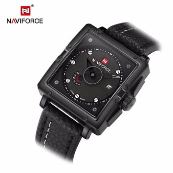NAVIFORCE mens watches top brand luxury quartz-watch leather square clock Man Army Military Sports Watches relogio masculino