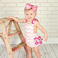 Chevron Light Pink & Hot Pink Baby Bubble Ruffle Romper Sun Suit