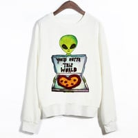 EAST KNITTING Alien With Pizza Cute Harajuku Women Hoodies Sport Large Size  Autumn Clothing