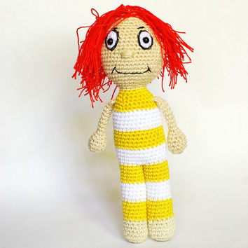 Amigurumi doll Stripo, crochet doll, Amigurumi, striped doll, cuddly doll, crochet toy striped puppet, big eyes doll, babysafe toy, Sipsik