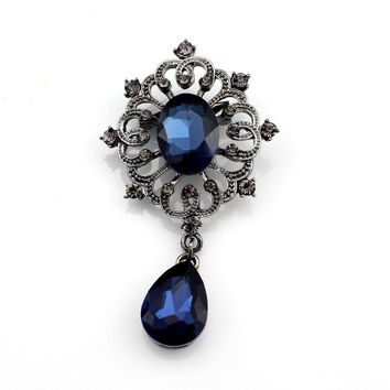 Retro Crystal Pendant Alloy Plating Brooch