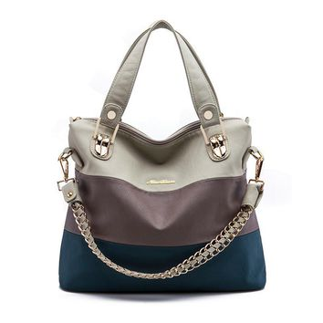 Luxury Retro zipper Women Handbag PU Leather Hobo Shoulder Splicing three colors PU mixing design casual Messenger Bags