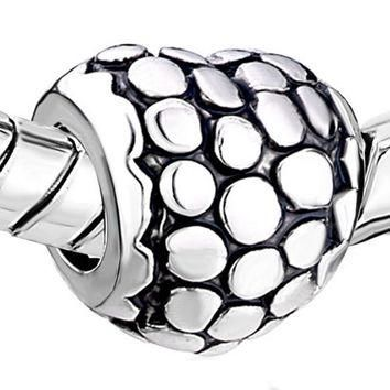 Pugster Silver Heart Charm Bead with Patterned Dots. Fits European Charm Bracelets (Pa