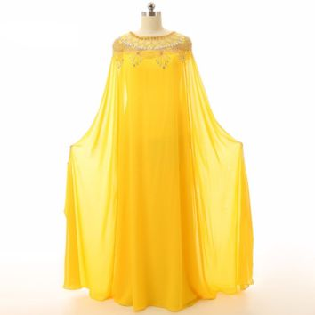 Evening dresses Custom Made Yellow Elegant Women Long sleeve Beaded Chiffon