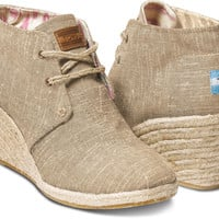 NATURAL BURLAP WOMEN'S DESERT WEDGES