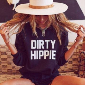 MDIGJ1A Personal long-sleeved letters sweater DIRTY HIPPIE