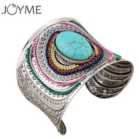 Joyme New Ethnic Jewelry Big Open Wide Arm Cuff Bangle Bracelets For Women Boho Bohemia Turquoise Gem Statement Bangles  Armband