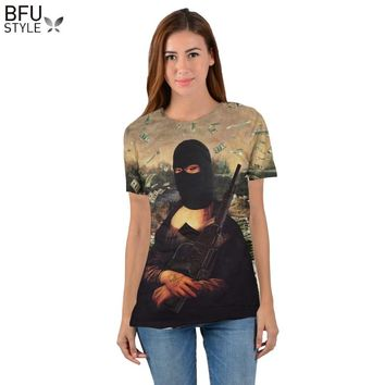 2018 Gangster Mona Lisa T-Shirt Funny 3D Print T Shirt Unisex Women Men Summer Style Tops Tees Camisas Laarge Size Shirt Men
