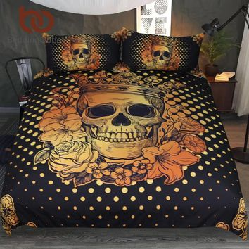 BeddingOutlet Sugar Skull Queen Bedding Set Floral Golden Duvet Cover Adults Black Bedclothes Gothic Crown Rose Home Textiles