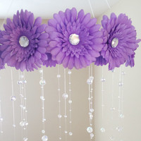 purple baby mobile, baby girl mobile, purple mobile, baby mobile, purple flower mobile, princess mobile, crystal baby mobile
