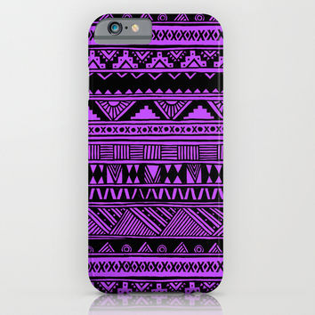 Black Purple Violet Cute Girly Urban Tribal Aztec Andes Abstract Geometric Pattern iPhone & iPod Case by Hyakume