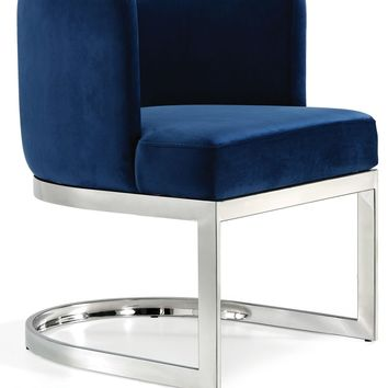 Gianna Navy Velvet Dining Chair Chrome Stainless Steel (set of 2)