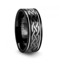 ORION Celtic Engraved Design Black Tungsten Wedding Band
