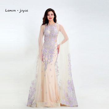 Lemon joyce Formal Champagne Evening Dresses 2019 Elegant O-Neck with Jacket Appliques Prom Party Gowns robe de soiree