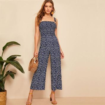 Spaghetti Laced Floral Jumpsuit