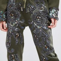 Starry Eyed Petite Heavily Embellished Paisley Detail Joggers at asos.com