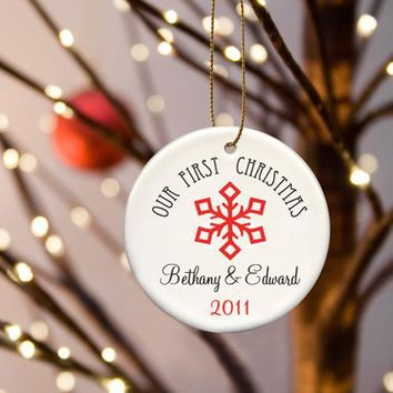 Our First Christmas Ceramic Ornament Free Personalization