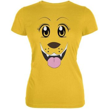 CREYCY8 Anime Dog Face Inu Bright Yellow Juniors Soft T-Shirt